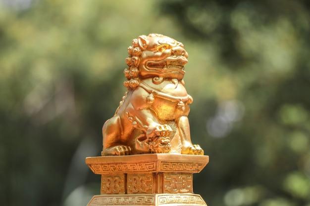 황금 사자 동상을 닫습니다