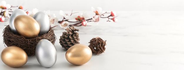 Close up of golden and silver easter eggs in the nest with white plum flower on bright white wooden table.