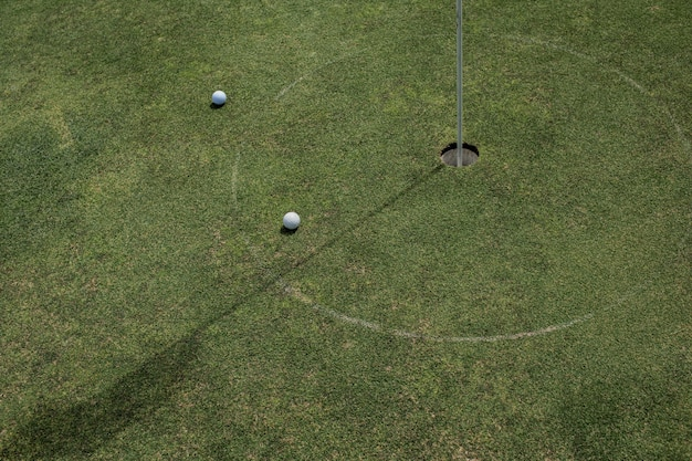 Close-up of a golf hole. bali. indonesia.