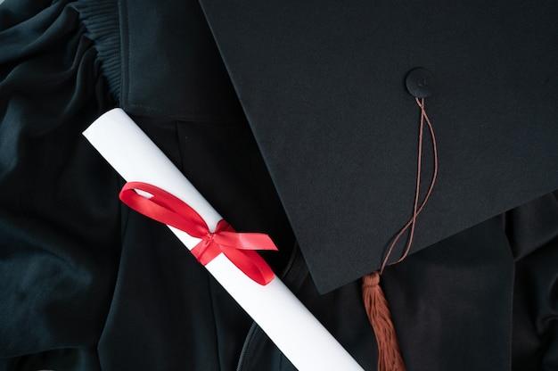 Close up graduation cap and tassle graduation cap during commencement university degree