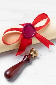 Close up graduation diploma