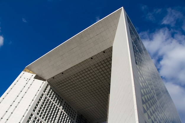 Close up of the grande arche in the district of la defense in paris