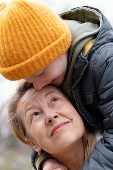 Close up grandson and grandmother