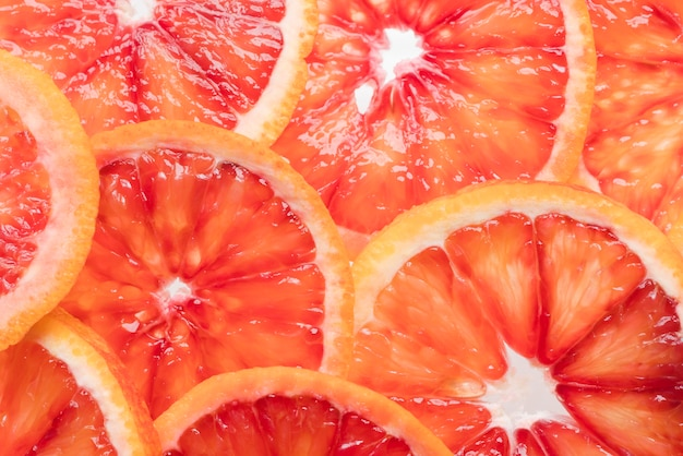 Close-up grapefruit slices ready to be served