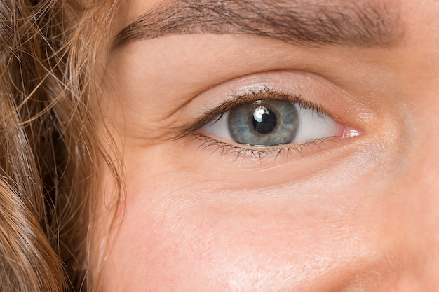 Close up gray eye on face of young beautiful caucasian girl