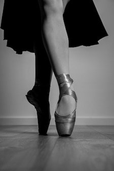 Close up grayscale pointe shoes