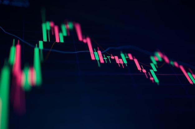 Закройте вверх по зеленому и красному графу свечи на цифровом экране. концепция финансового и фондового графика.