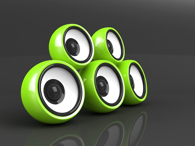 Close up on green audio system isolated