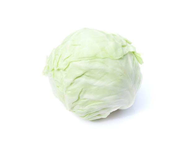 Close up on green cabbage isolated