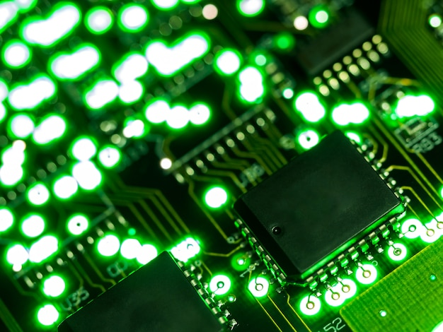 Close up green circuit board. electronic computer hardware technology.