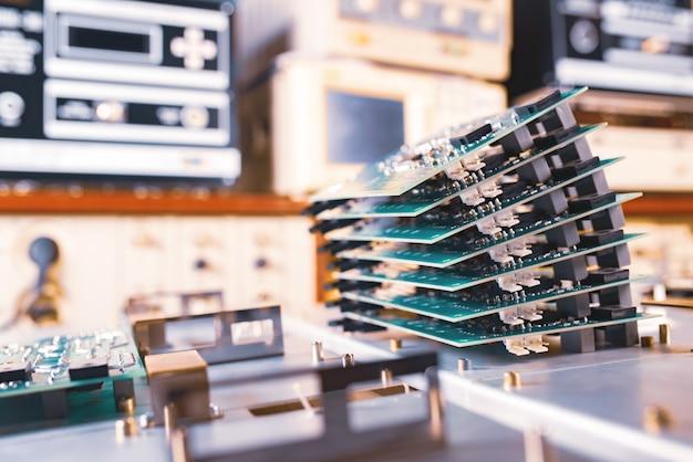 근접 녹색 컴퓨터 마이크로 회로