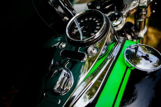 Close up green motorcycle patrts