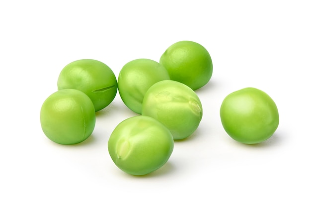Close-up of green peas isolated on white background.