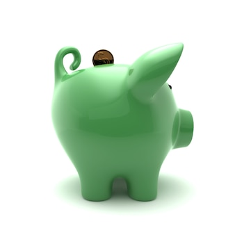 Close up on green piggy isolated