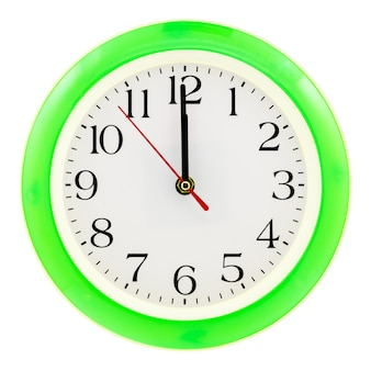 Close up on green plastic clock isolated