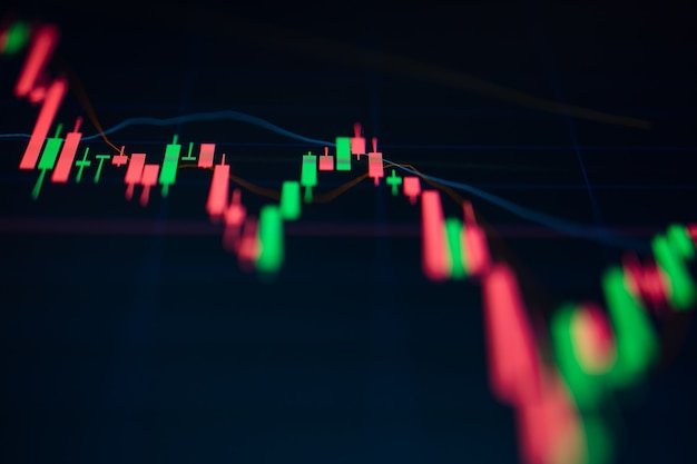 Close up green and red candle graph on digital screen. concept for financial and stock graph.