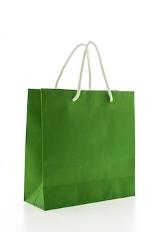 Close-up of green shopping bag