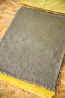 Close-up of a grey colored paper pulp