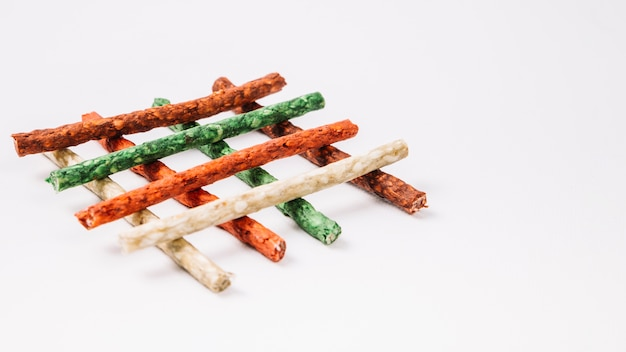Close-up grid from chewing sticks