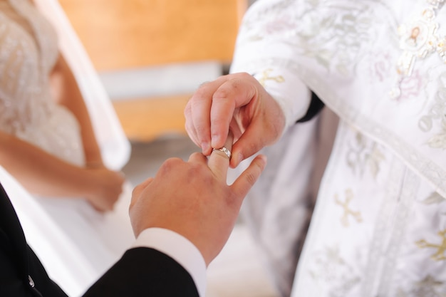 Close-up of groom and bride put their rings on finger in the church.