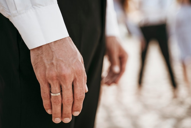 Close-up of groom hand with wedding ring
