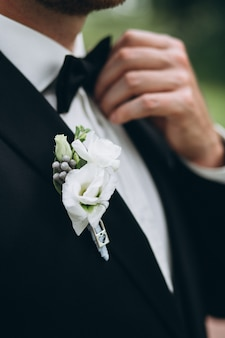 Close-up groom's suit