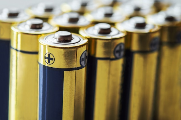 Close up group of alkaline aa battery energy abstract