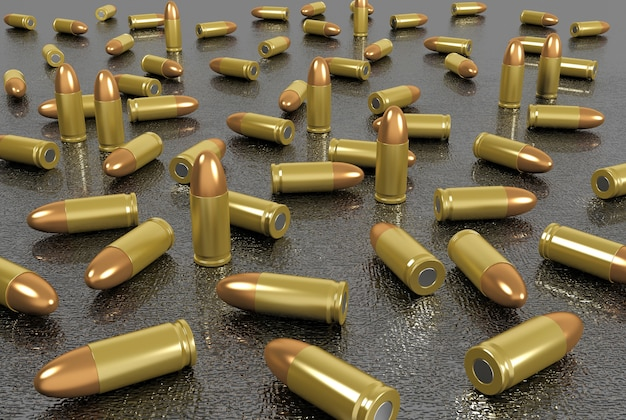 Close up group of bullets