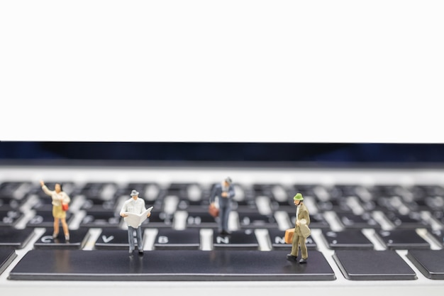 Close up of group of businessman miniature figures