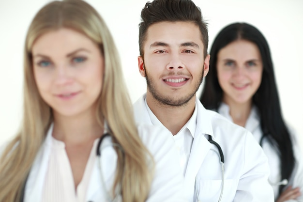 Close-up, a group of medical doctors standing together. the concept of health