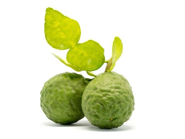 Закройте вверх по группе в составе свежий бергамот при зеленые листья изолированные на белой предпосылке.