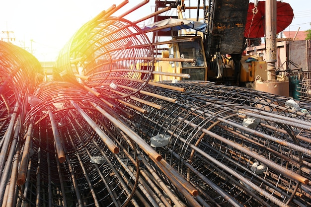 Close up group of steel structure make for bored pile in big construction site