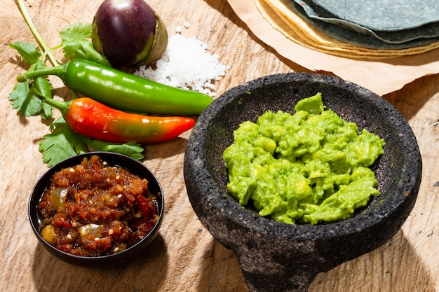 Close-up guacamole and salsa for tortilla