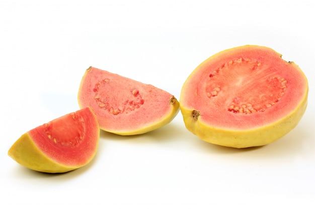 Close-up guava fruit, pink, fresh, organic