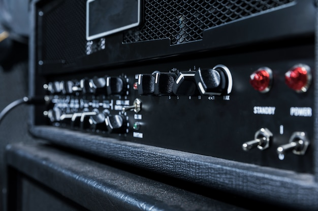 Close up guitar amplifier,