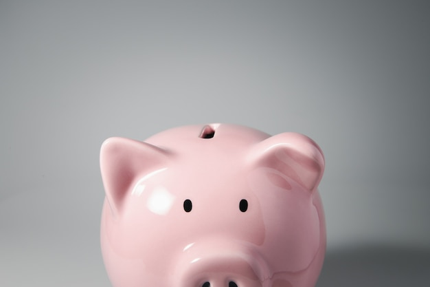 Close up haft body of piggy bank