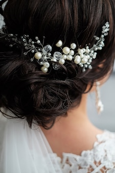 Close-up of hair clip on bride's hair