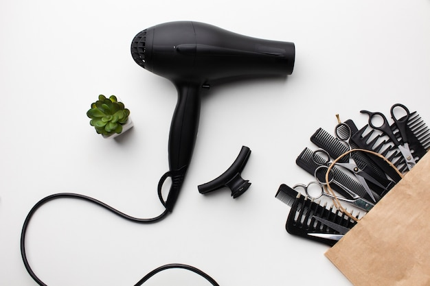Close up hair dryer and accessories