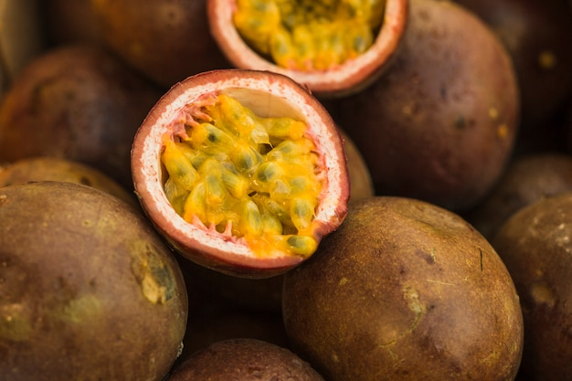 Close-up of halved passion fruits