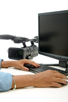 Close up of hand of african  woman video editor