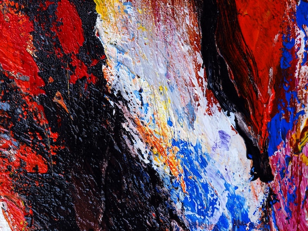Close up hand draw colorful oil paint abstract texture.