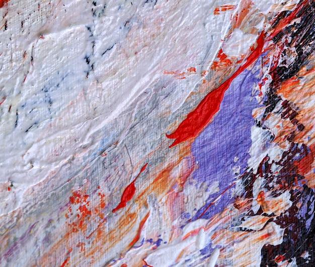 手描きのカラフルな油絵抽象的なテクスチャを閉じます。