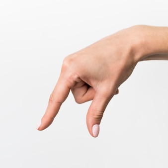 Close-up hand gesturing sign language