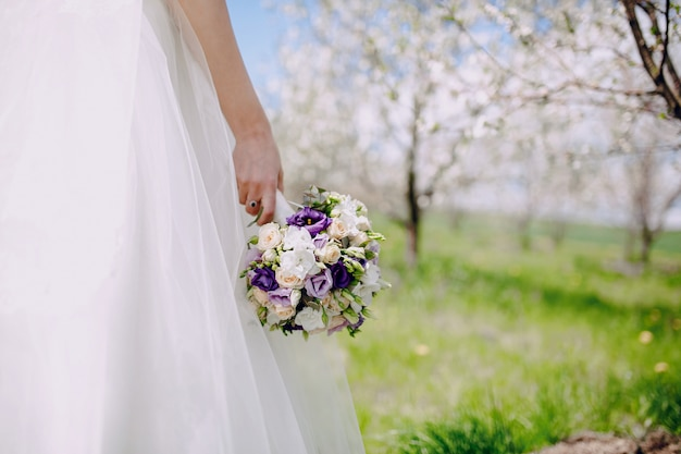 Close-up of hand holding a beautiful bouquet