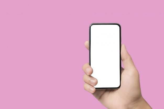 Макро рука смартфон пустой экран для текста и содержимого