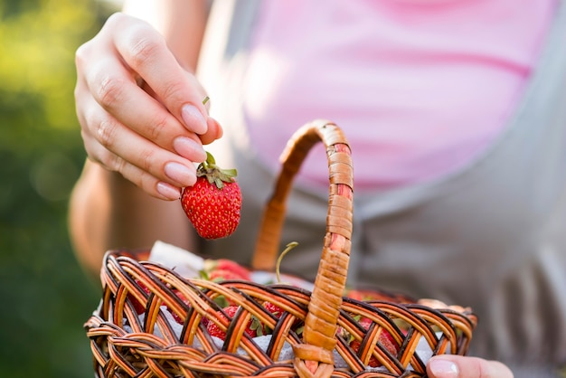 Close-up hand holding strawberry