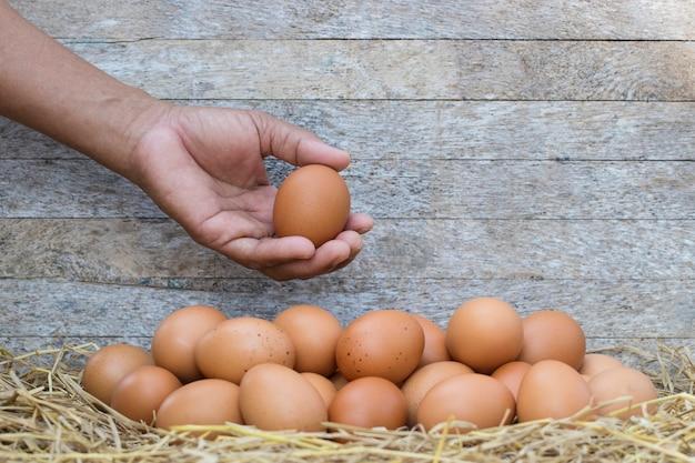 Крупным планом рука фермера, выбирающего куриные яйца для повара на соломенном гнезде