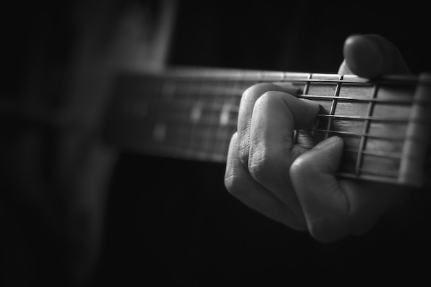 Close up of hand playing acoustic guitar background.
