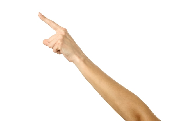Крупным планом рука указывает влево