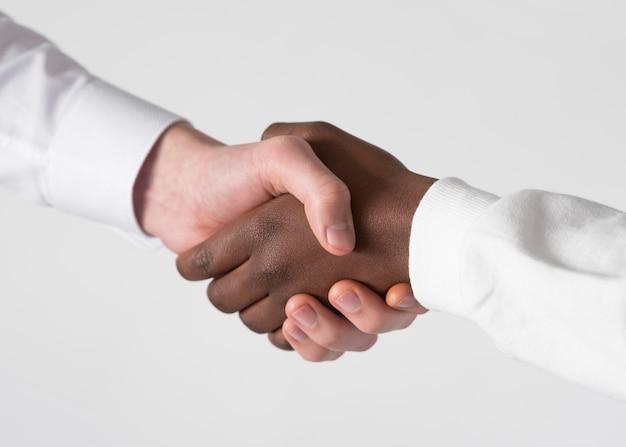 握手をクローズアップ